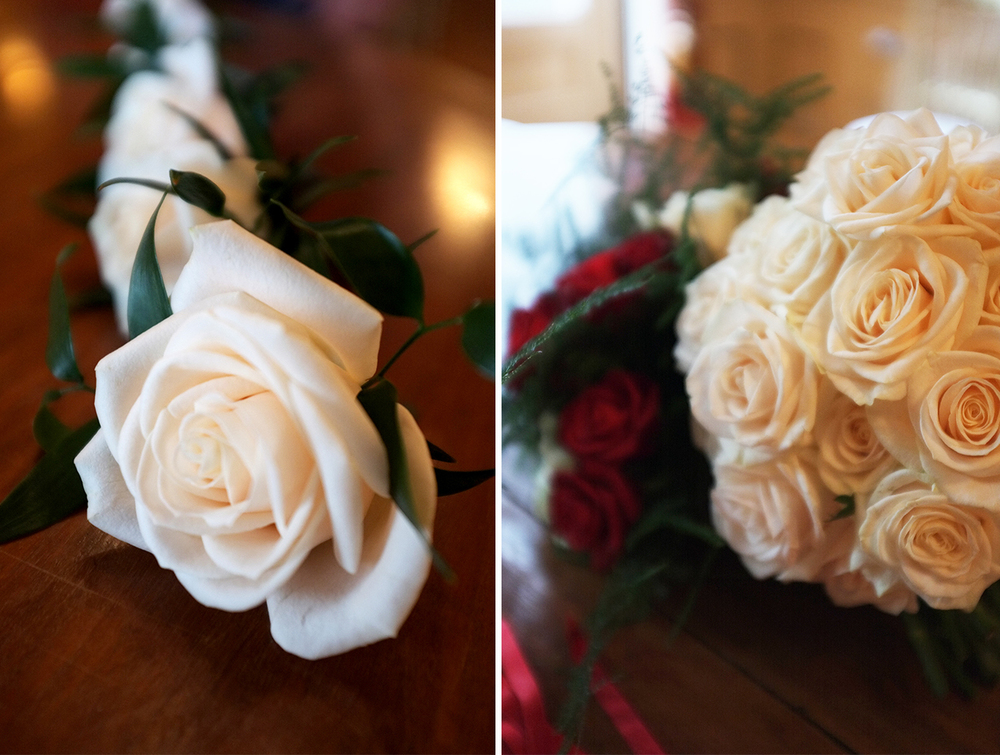 Corsages and a Bridal Bouquet made of pure white roses. Image: Melissa Whelan
