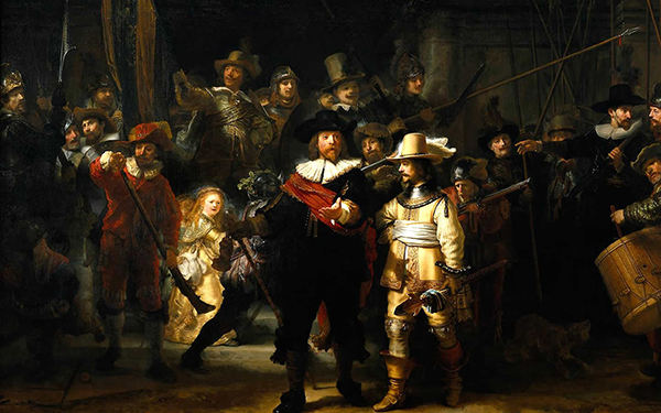 The Night Watch. One of Rembrandt's most famous masterpieces, located in the Gallery of Honour.