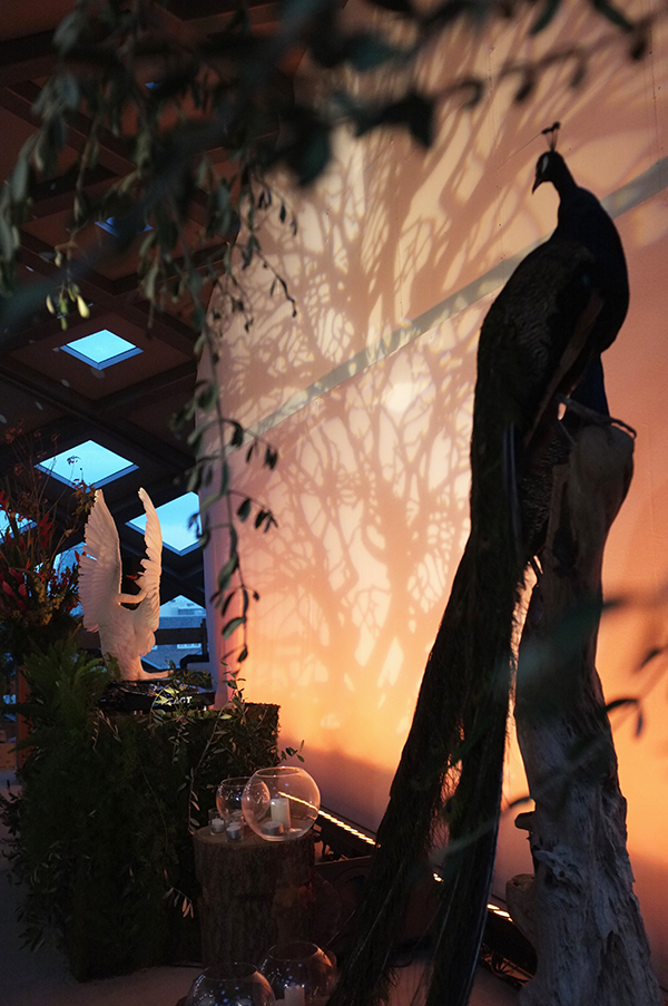 A.P Bloem Florist Bloemist Amsterdam Event greenwall foliage rokin bos forest leaves diner dinner VIP luxury gebouw building handmade flowers bloemen bloemenwinkel kerkstraat prestigious rode rozen roses red styling stil decoratie decoration peacock swan zwaan