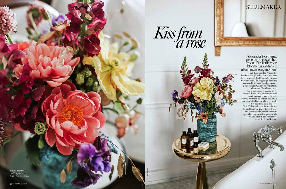 A.P Bloem Vogue Living florist bloemist kerkstraat amsterdam flowers bloemen flowers Wedding photoshoot fotoshoot bruiloft trowel Netherlands