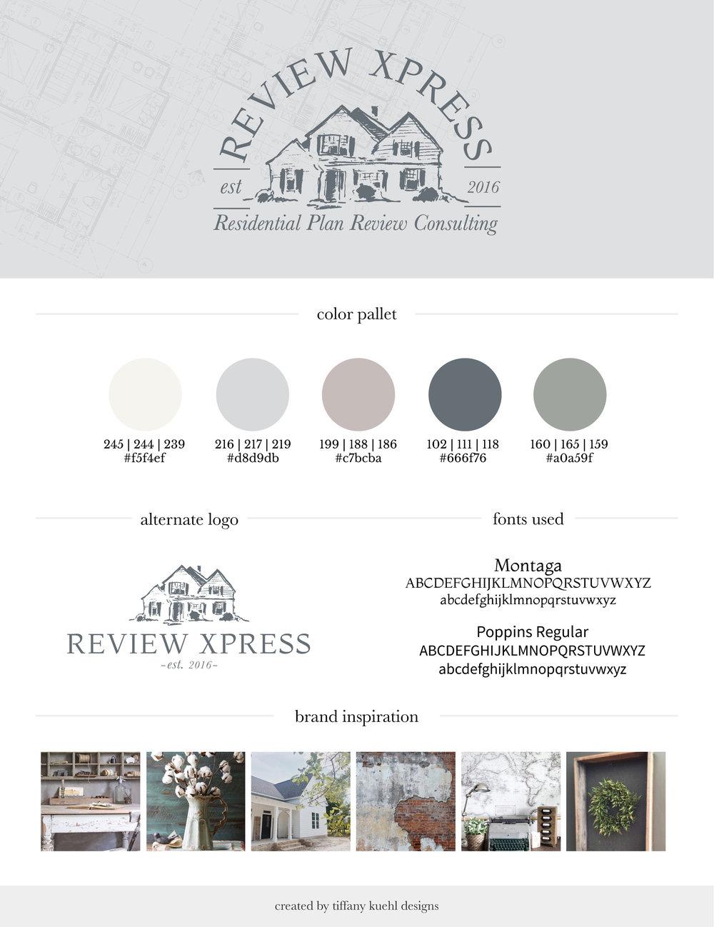 Review Xpress Brand Board | Tiffany Kuehl Designs