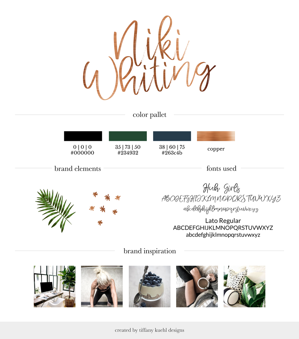 Niki Whiting Brand Board | Tiffany Kuehl Designs