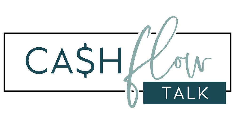 Cash Flow Talk Logo | Tiffany Kuehl Designs  This logo is everything! It's simple with fun little quirks. We were able to make it feminine, but professional with the use of fonts and colors. I am in love!    #branding #brandstylist #logodesign #logo