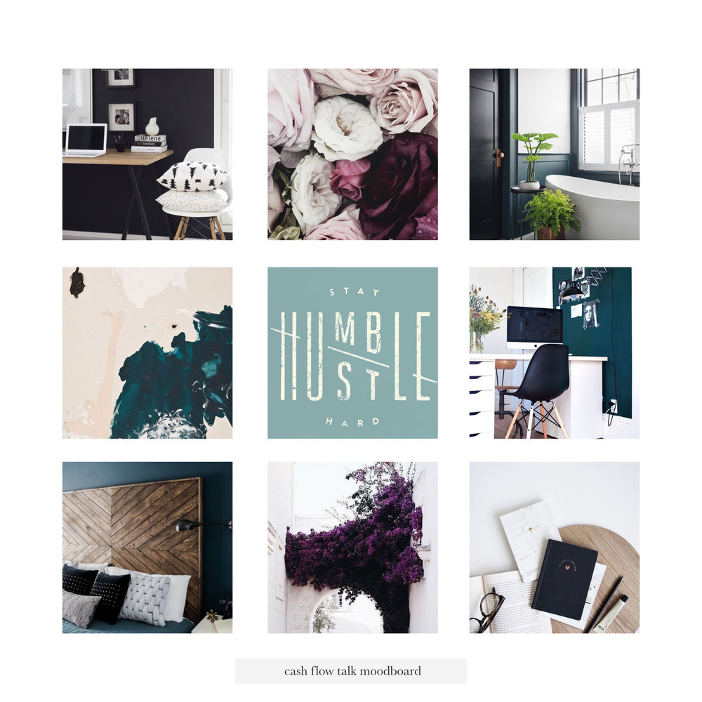 Cash Flow Talk Moodboard | Tiffany Kuehl Designs  As always our first step in the branding process was the moodboard, and the vibe that this one gives off just speaks to me! It's fun and professional with a feminine touch!  #branding #logodesign #colorinspiration #moodboard #brandinspiration