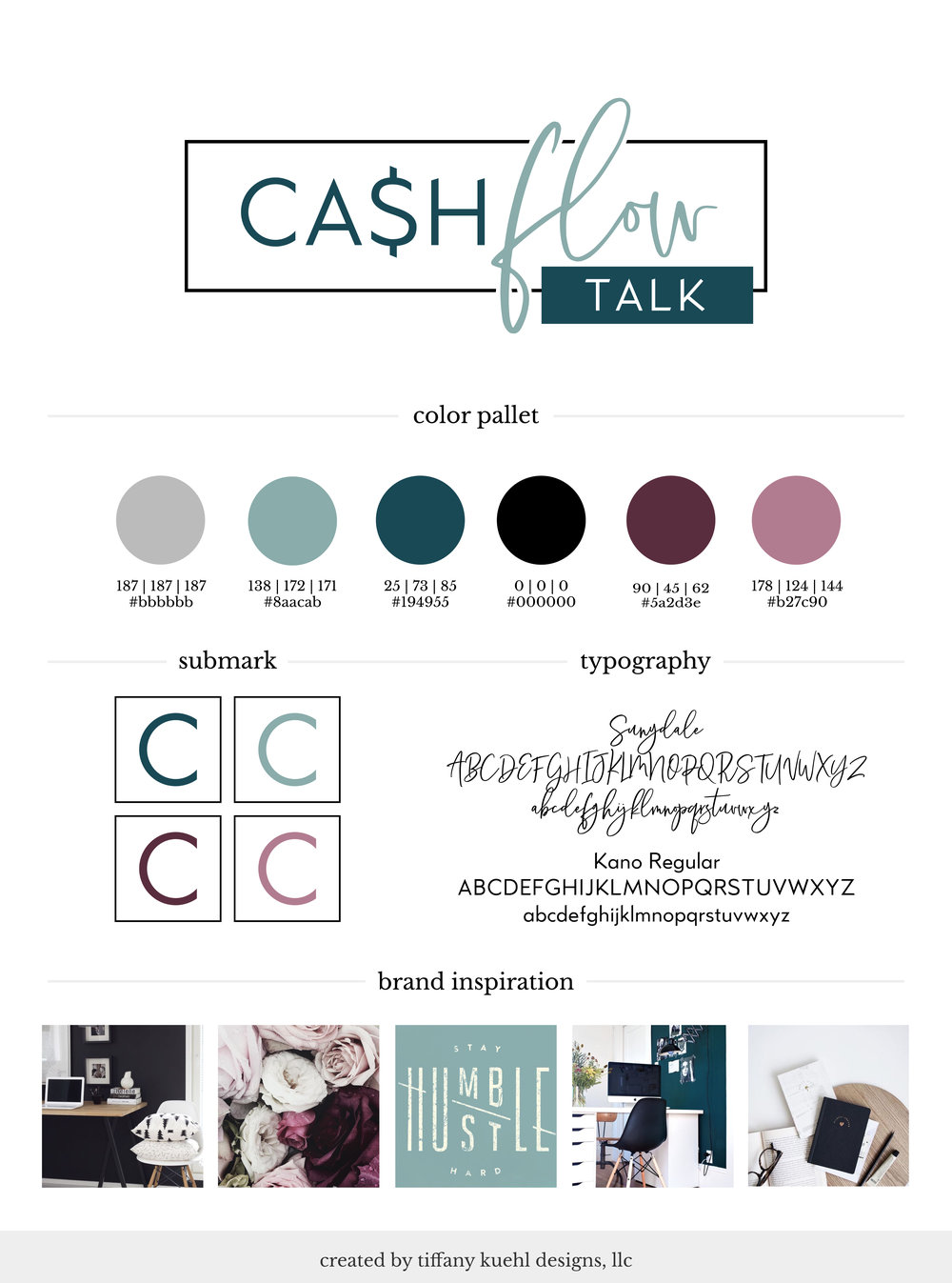 Cash Flow Talk Brand Board | Tiffay Kuehl Designs  I love how the Cash Flow Talk brand turned out! A #brandboard is your branding details at a glance, and I am dying over these details!  #branding #logodesign #colorinspiration #moodboard #brandinspiration #brandstyleguide #brandboard