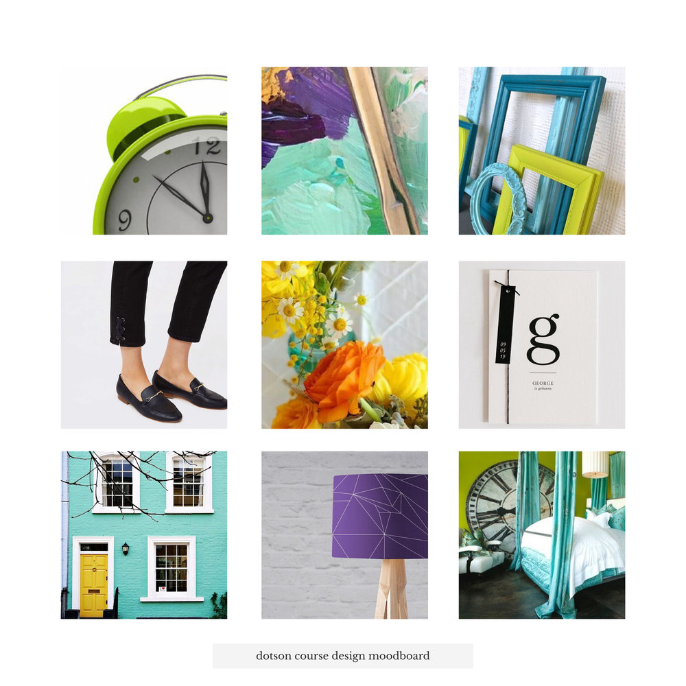 Dotson Course Design Moodboard | Tiffany Kuehl Designs  This #moodboard was so fun and our of my comfort zone to create! The colors were so bright and energetic that you just couldn't help but to have fun working on it! Now I'm obsessed!  #coursedesign #coursecreation #branding #logo #logodesign #brandstylist #branddesigner