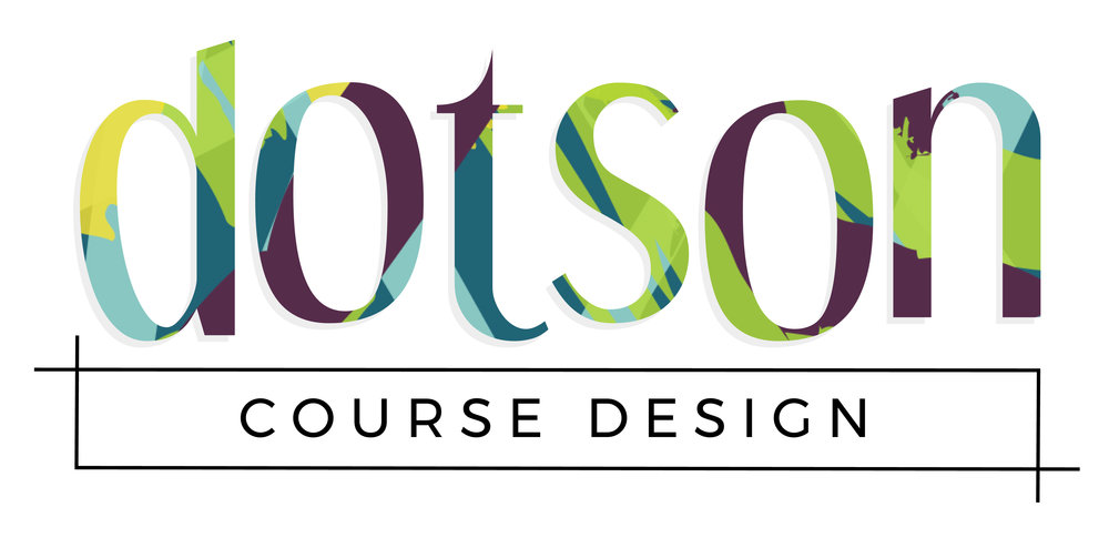 Dotson Course Design Primary Logo | Tiffany Kuehl Designs  IT doesn't take anything super complicated to make a great logo! These fonts are so fun , but clean and then we created a bright pattern that we included within the main font. It's fun, it's playful, it's Dotson Course Design!  #coursedesign #coursecreation #branding #logo #logodesign #brandstylist #branddesigner