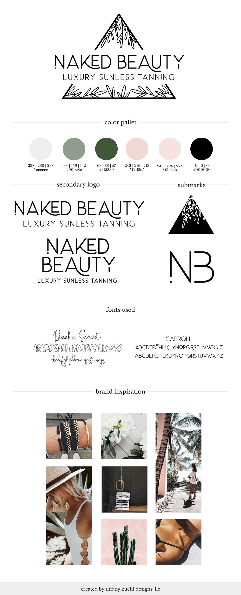 Naked Beauty Brand Board | Tiffany Kuehl Designs  Take a look at the final product for the @thenaked_beauty brand! This board pulls together most of the elements that we created for Naked Beauty and it it beautiful!  #branding #moodboard #brandboard #colorinspiration #brandinspiration #luxuriousbranding #custombranding #sunlesstanning
