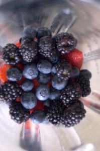 Berries in a blender