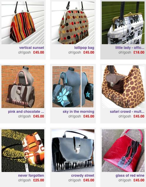 oh!gosh bags on Folksy