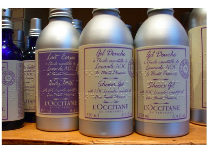 L'Occitane products with braille as part of the labels
