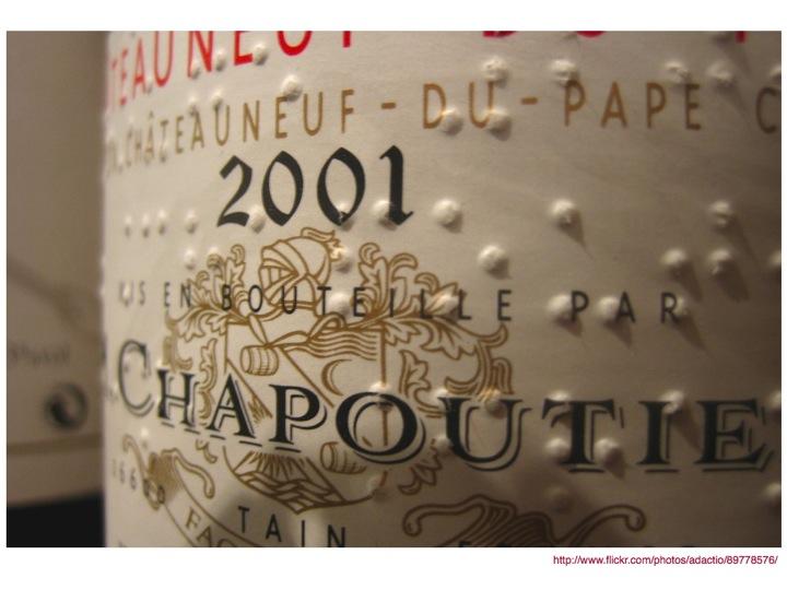 Braille on wine bottle label