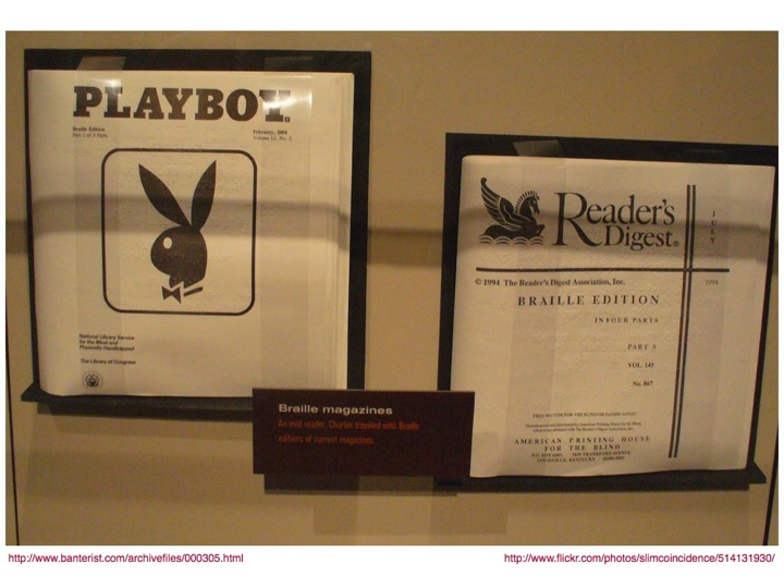 Playboy and Reader's Digest Braille magazines
