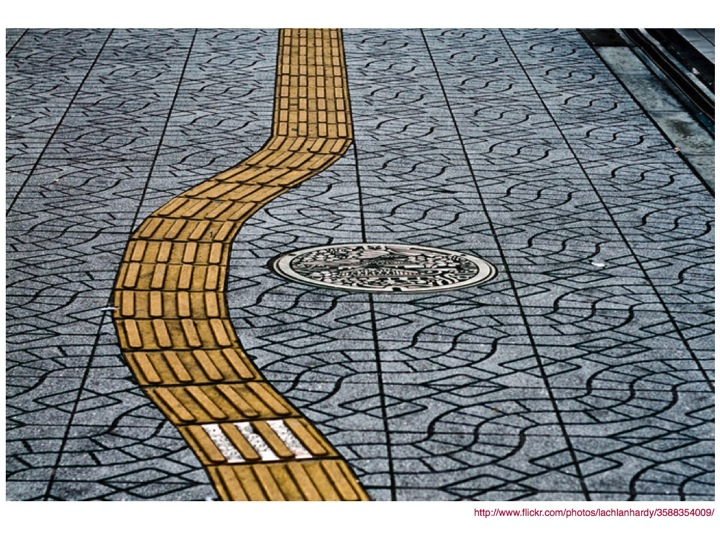 Tactile paving in Japan, leading pedestrians around manhole covers