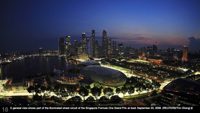 Singapore F1 Track at night from Boston.com's Big Picture