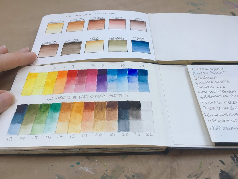 Colour swatches from Hushwing Watercolours and Winsor and Newton in my sketchbooks