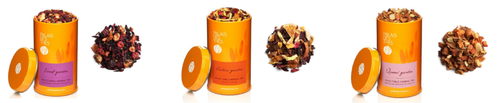 From left to right: Forest Garden, Festive Garden, and Queen's Garden tea blends.