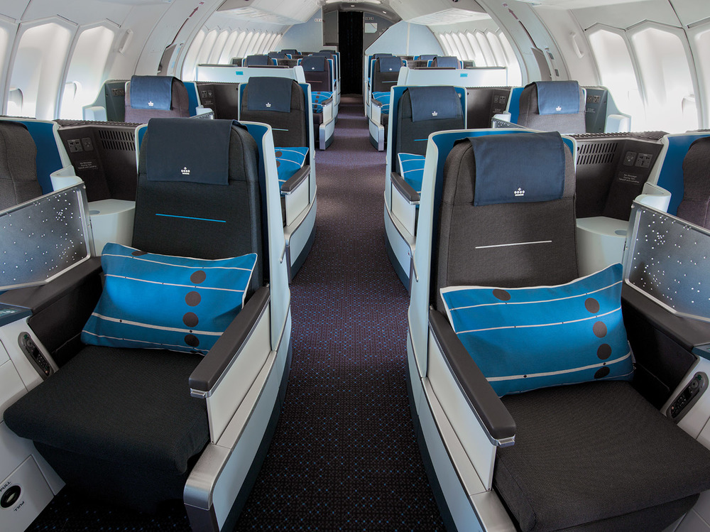 KLM's new World Business Class (WBC) cabin interior, featuring the new full-flat seat.