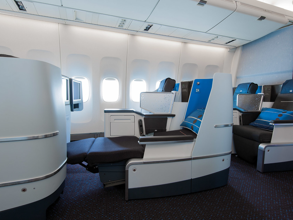 Full-flat seats are among innovative design updates that make KLM Business Class feel like home.