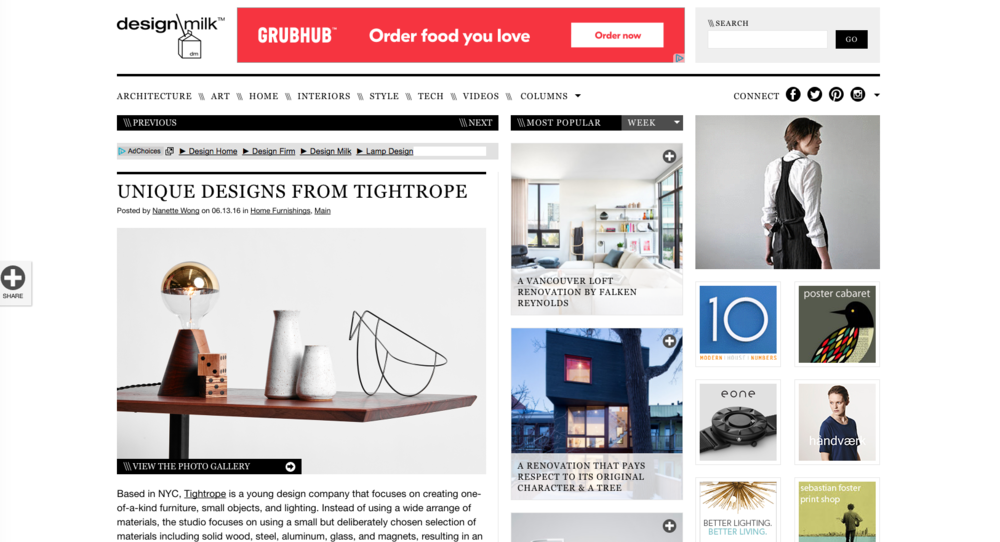 We're so excited to be featured on Design Milk! June 13, 2016