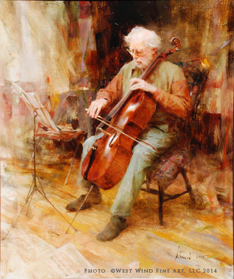 """Cellist"" 26x22 oil ©Richard Schmid 2005 ©This image is under strict copyright to the artist and may not be reproduced in any form"