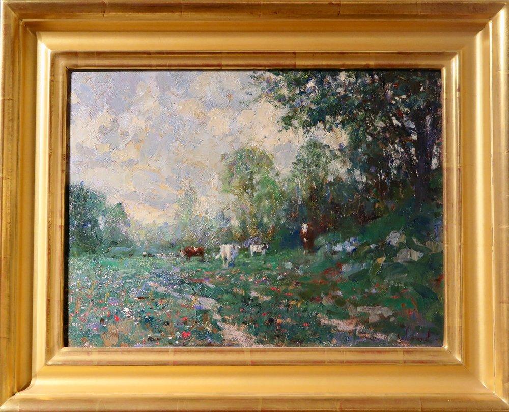 """Connecticut Landscape With Cows"""" Oil 12""""x 16"""" © Richard Schmid"""
