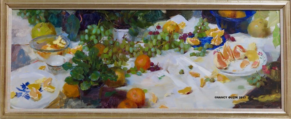 """ Grapes & Grapefruit""  oil 48"" x 18"" ©Nancy Guzik ©This image is under strict copyright to the artist and may not be reproduced in any form"