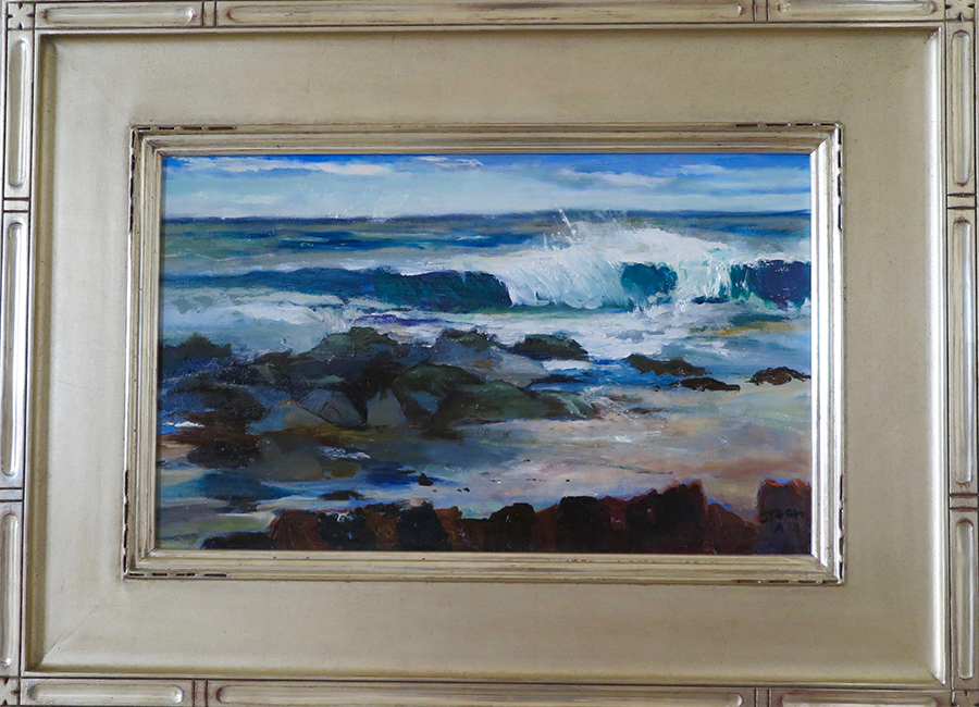 """WINDSWEPT WAVES""  10 X 16 oil © Judy Stach 2018 © This image is under strict copyright to the artist and may not be reproduced in any form"