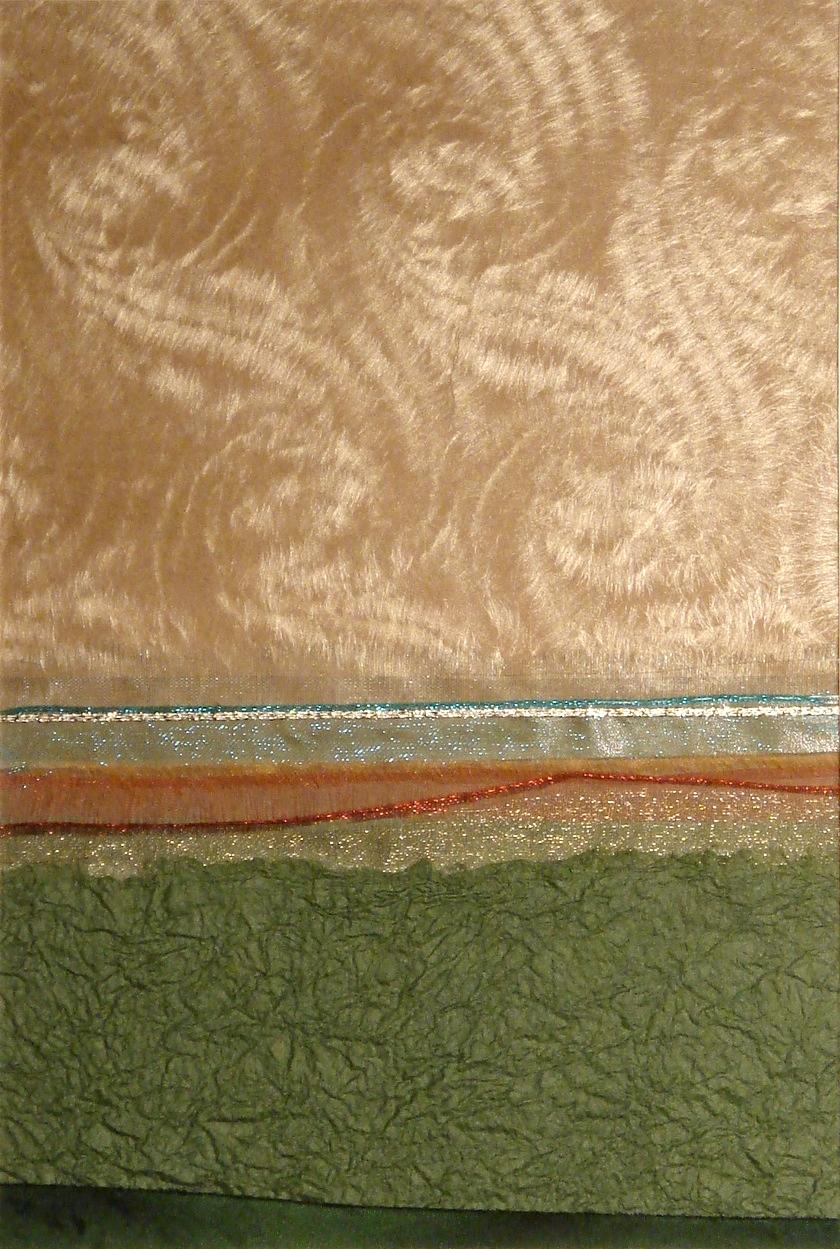 "Landscapes Series      Landscape I     12"" x 16""    Paper and Silks    2006"