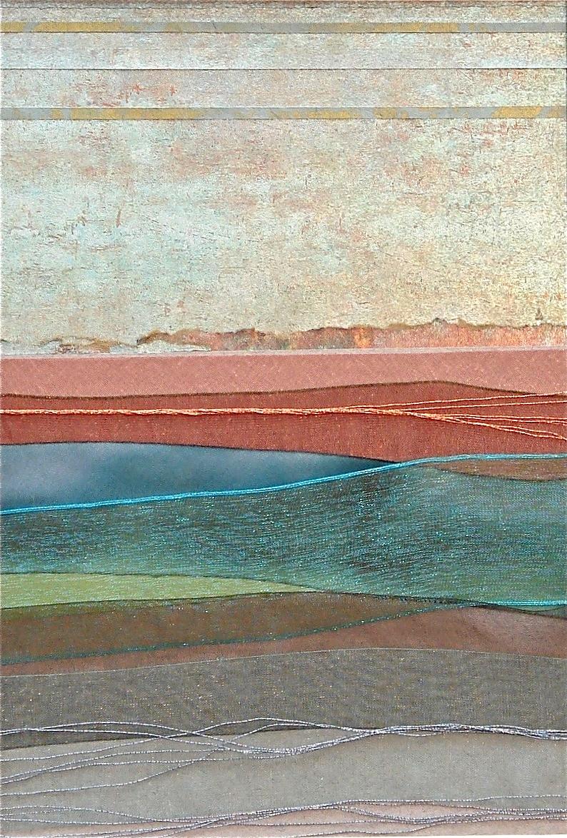 "Landscapes Series    Landscape IV   12"" x 16""  Paper and Silks  2006"
