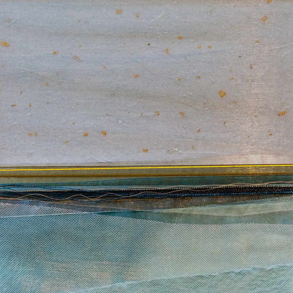 "Waterscapes Series     Warm Waters II     8"" Sq.    Metal Print with Silks    2015"