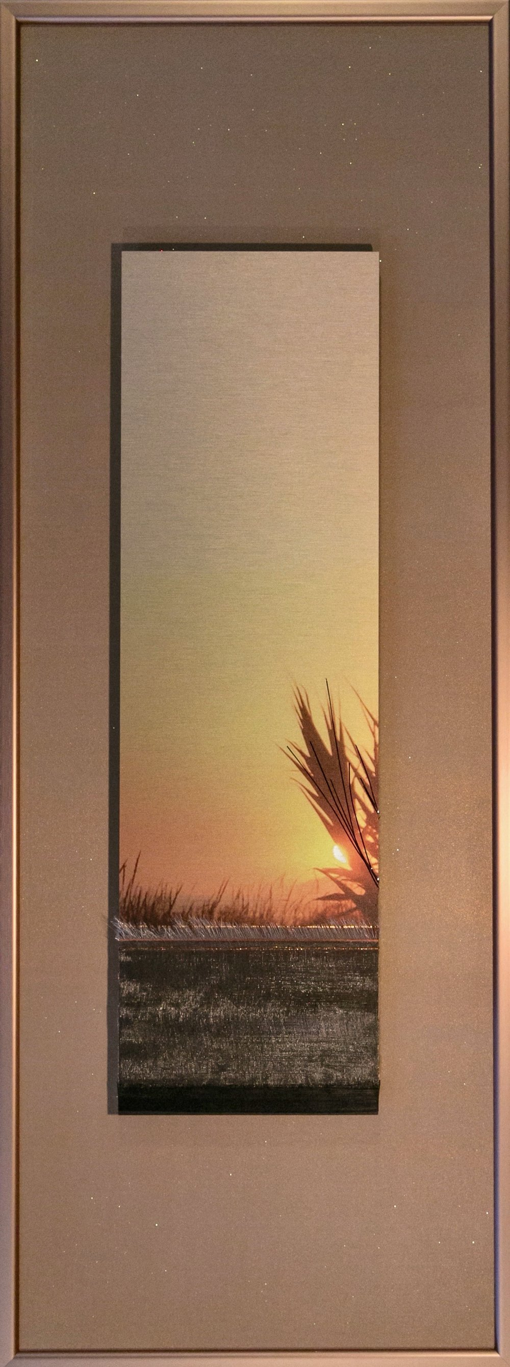 "Landscapes Series    Dawn   12"" x 32""  Brushed Metal Print with Silks  2018"