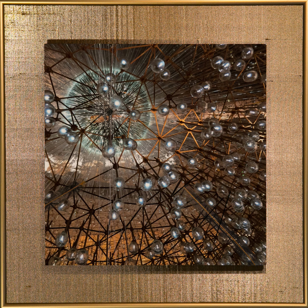 "Wavecapes Series    Orb   14"" Sq.  Metal Print with Silks  2018"