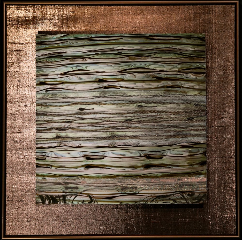 "Wavecapes Series    Sinuous I   14"" Sq.  Metal Print with Silks  2018"