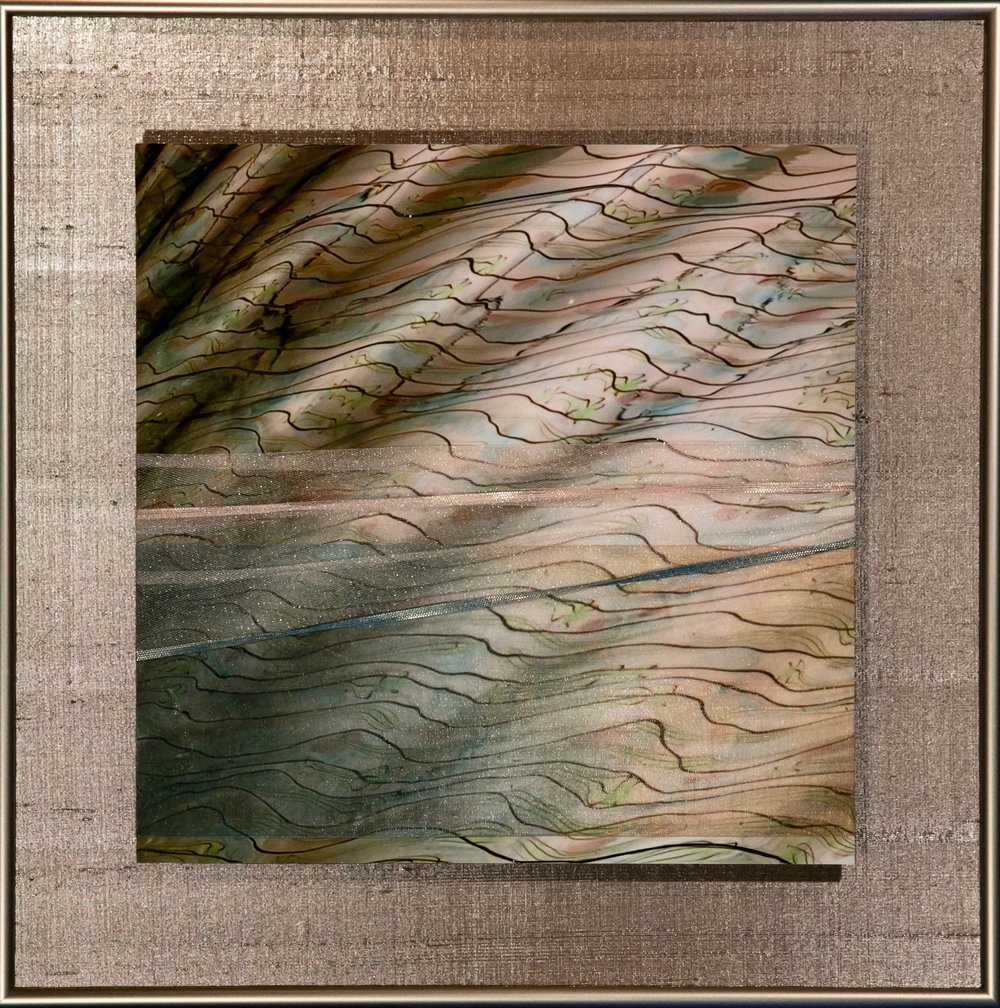 "Wavecapes Series    Sinuous II   14"" Sq.  Metal Print with Silks  2018"