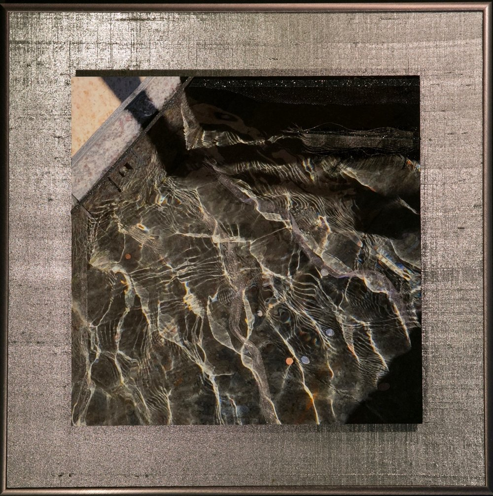 "Wavecapes Series    Fluid Light II   14"" Sq.  Metal Print with Silks  2018"