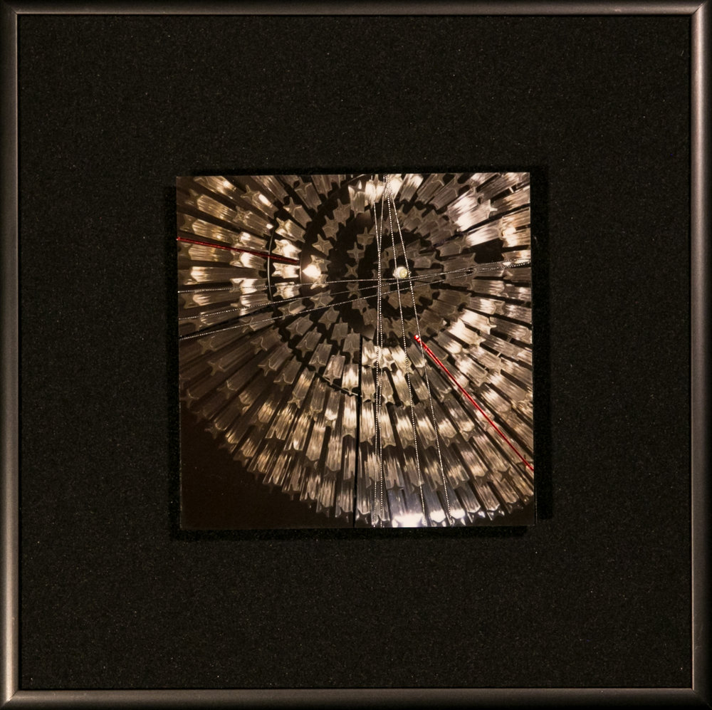 "Spirals Series    Diffuse II   8"" Sq.  Metal Print with Silks  2018"