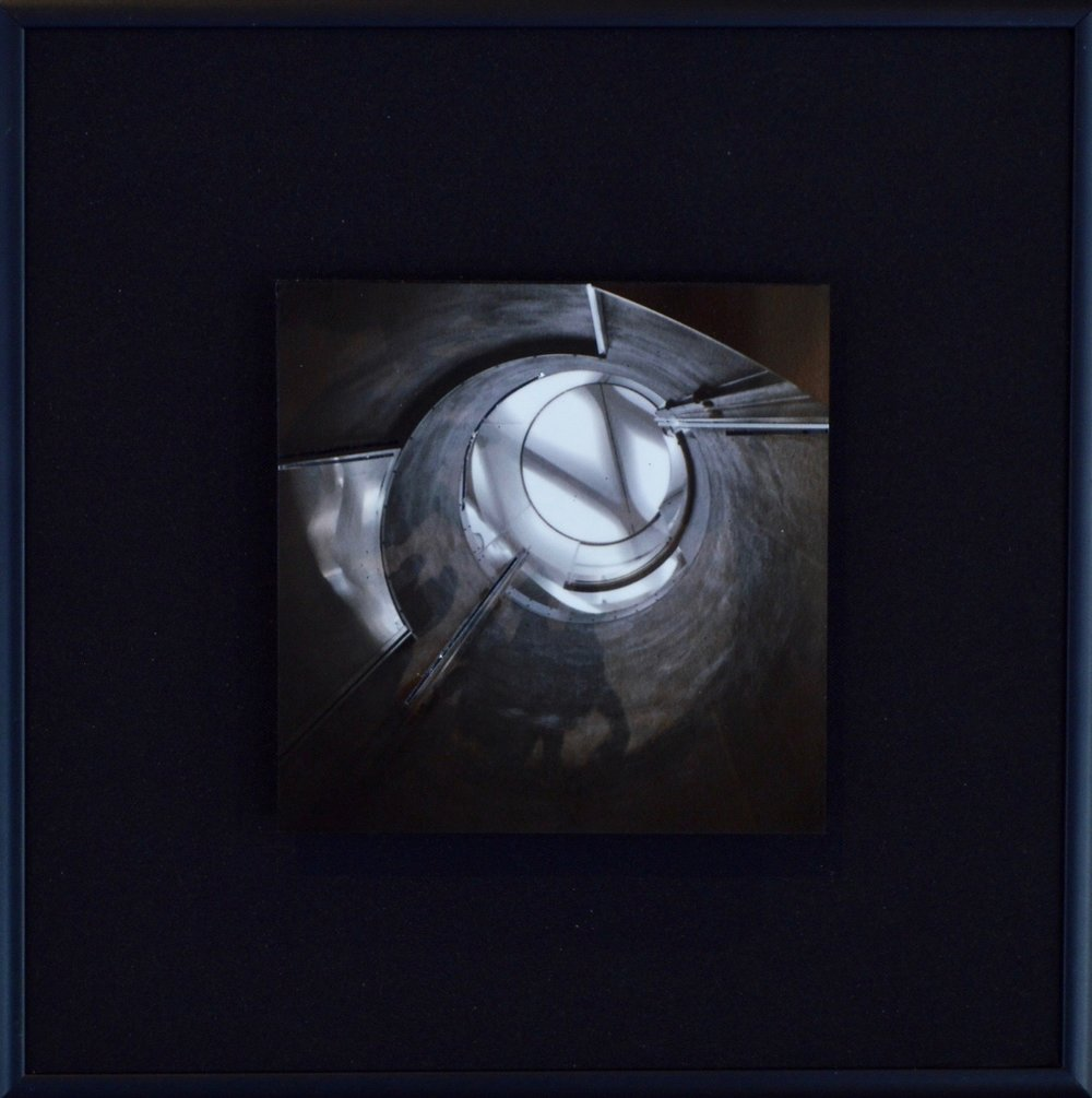 "Spirals Series    Diffuse I   8"" Sq.  Metal Print with Silks  2018"