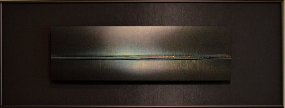 "Skyscapes Series    Magnetic Light   12"" x 32""  Brushed Metal Print with Silks  2018"