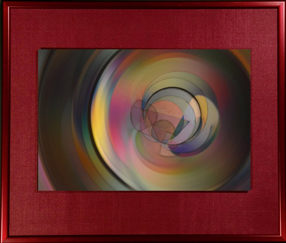 "Polychrome Series    Prismatic Joy I   16"" x 18""  Metal Print with Silks  2018"