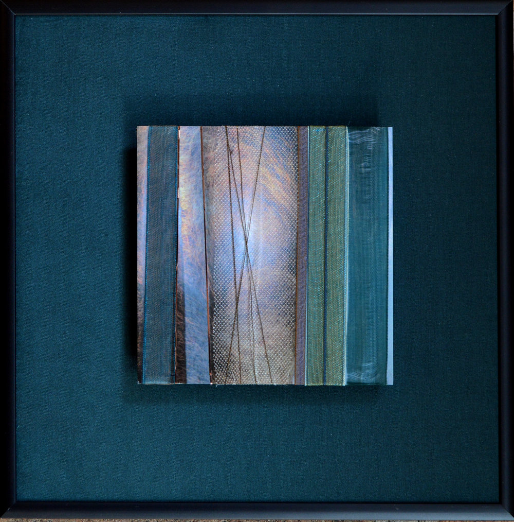 "Surface Series    Metallic Textures II   8"" Sq.  Metal Print with Silks  2018"