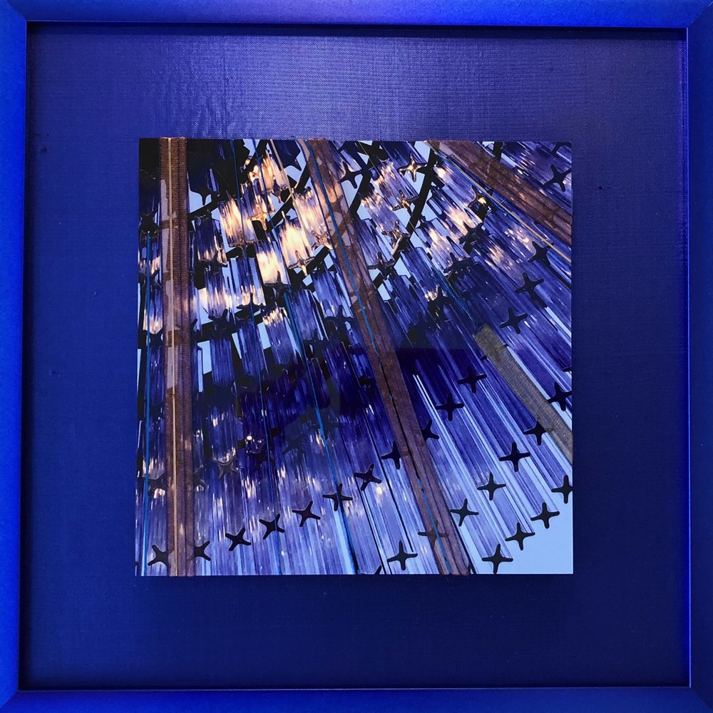 "Chroma Series    Luz Azul   10"" Sq  Metal Print with Silks  2018"