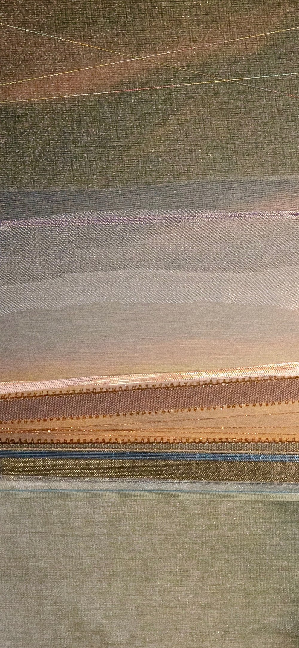 "Landscapes Series    Hazy Ocean (Detail)   12"" x 32""  Brushed Metal Print with Silks  2018"