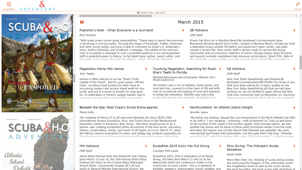 A click or tap on the 'Contents View' displays all of the LiLy enhanced article content within the publication.