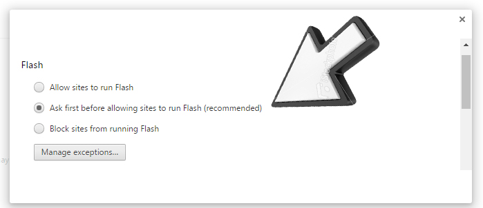 Chrome receommended settings prompt users to allow Flash to run before displaying the media.