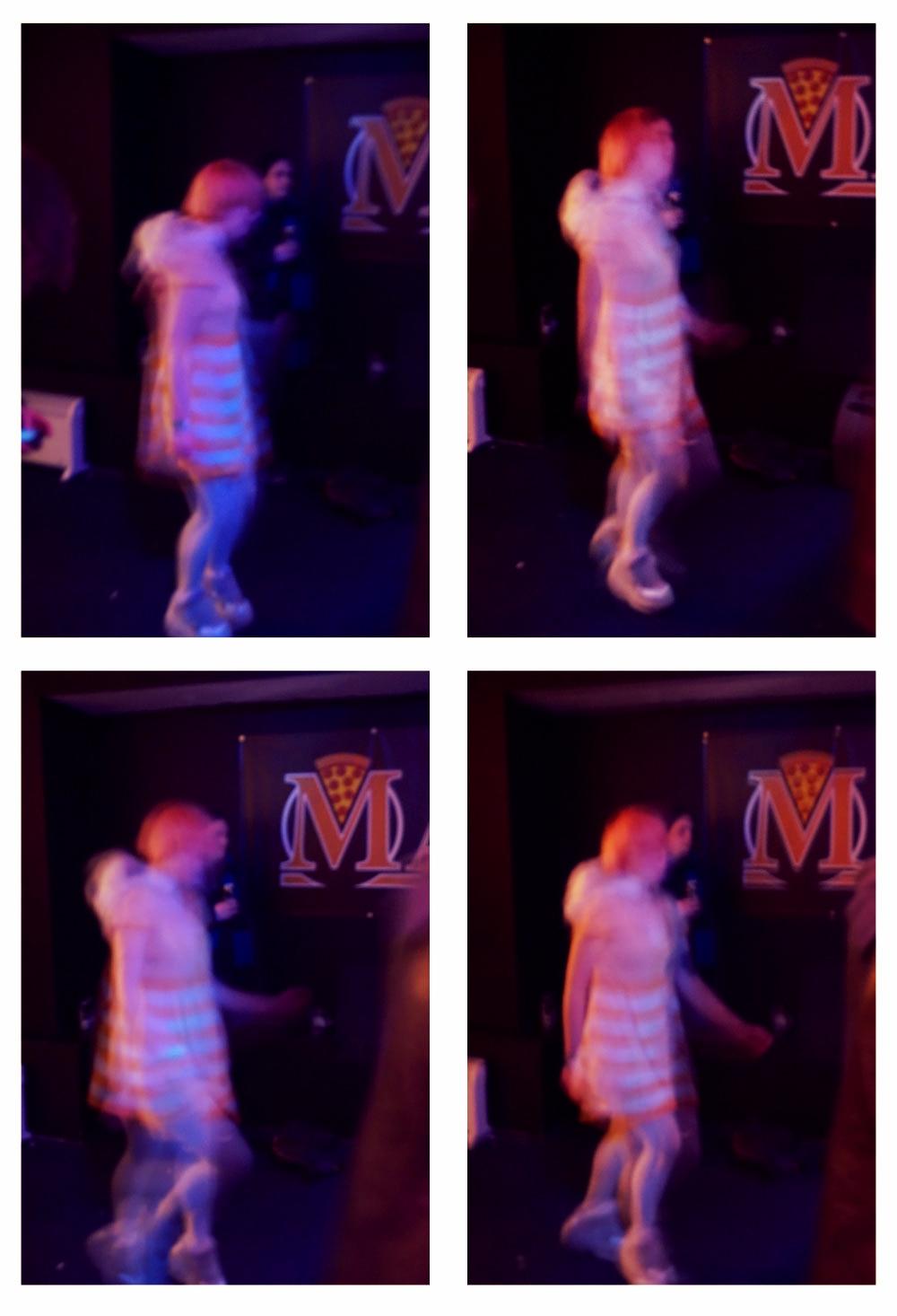 Emily dancing to The Flash Bang Band