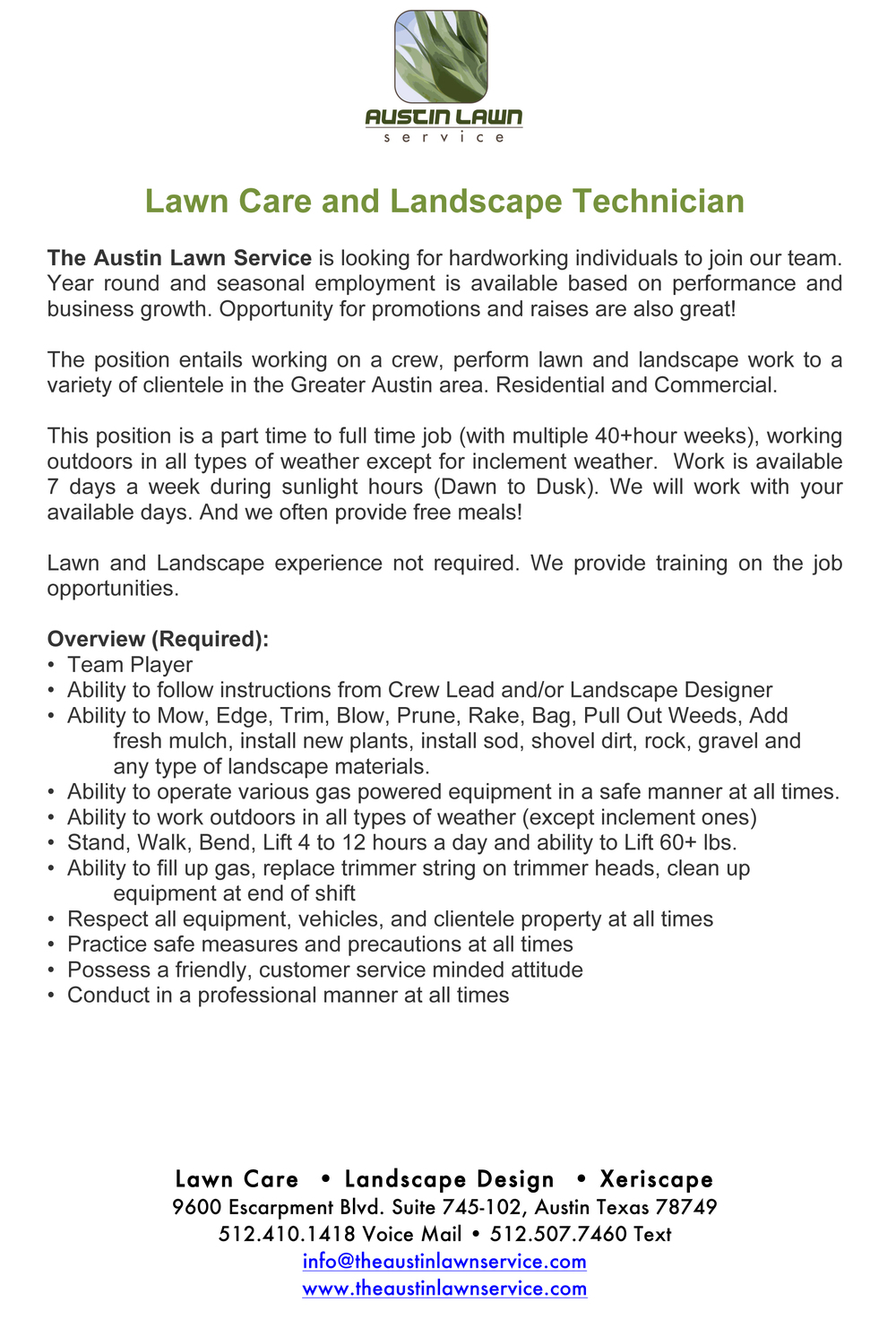 Microsoft Word - Lawn Care and Landscape Technician.docx
