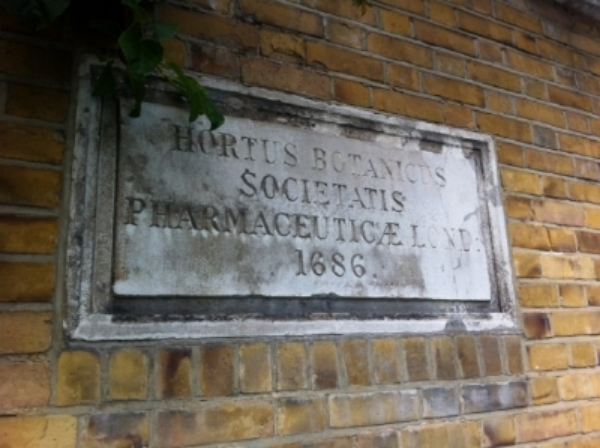 Entrance sign to the Chelsea Physic Garden, London.