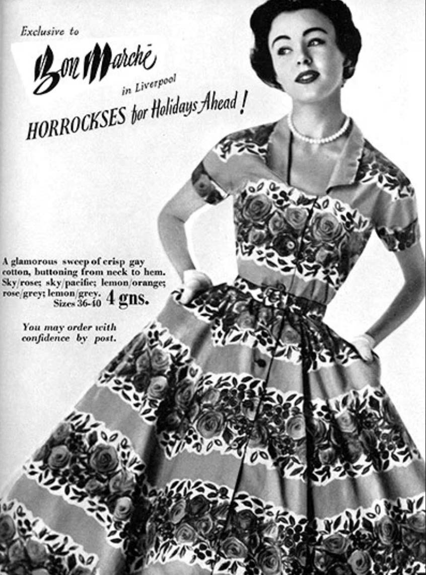 Bayadere  (floral stripes) were an ongoing theme for Horrockses Fashion and were often imitated by competitors. This particular example was designed by Pat Albeck. Vogue, 1954.