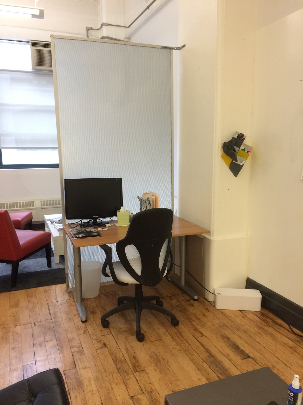 Cubby desk - $650 a month Includes - Desk space and chair, printer availability, monitor if needed, paper storage & stationary. Trash disposal. Access to private conference rooms in building with whiteboard. Access to private phone booth,  shared couch spaces and kitchen.